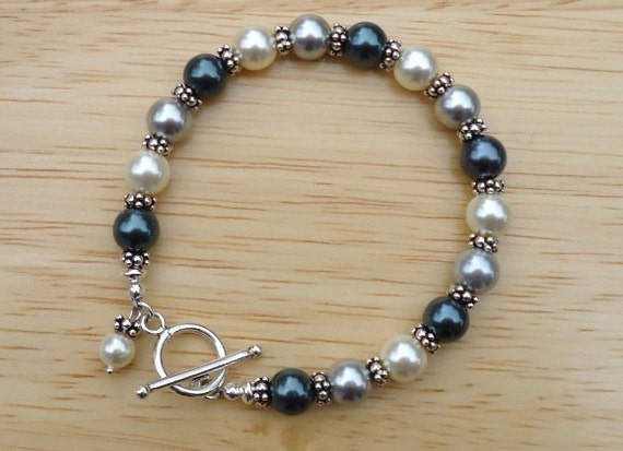 Swarovski Crystal Bracelet, Pearl Bracelet, Crystal Pearl and Sterling Silver Bracelet, Blue Bracelet