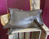 Chocolate brown real leather clutch bag