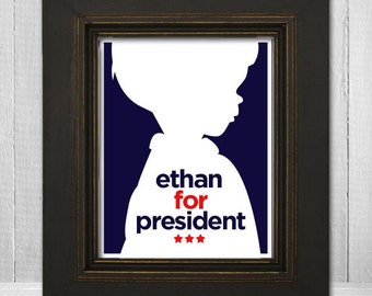 Custom 11x14 Boys Room Print, Presidential Campaign Art Print, Red White and Blue Art for Boys Room Decoration
