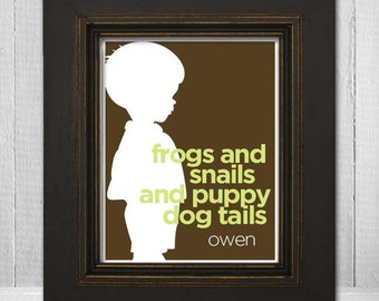 Custom Childrens Wall Art, 8x10 Little Boy Silhouette Print with Saying, Name Personalized Print