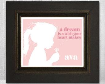 Inspirational Art Print 8x10 Girl Blowing Dandelion Girl's Room Wall Art