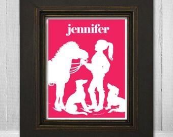 Personalized Girls Room Print 11x14 Horse Print, Custom Color Girl's Room Print