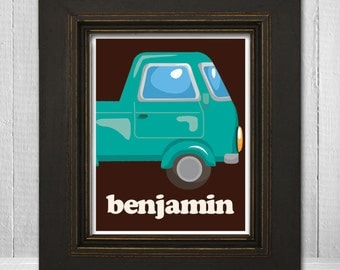 Personalized Boys Room 11x14 Print  - Kids Car Wall Art - Custom Boys Print - Car Theme Print - Choose Your Background Color