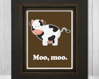Cute Cow Kids Print 8x10 - Cow Theme Nursery Print - Custom Children's Art - Moo Moo - Choose Your Background Color