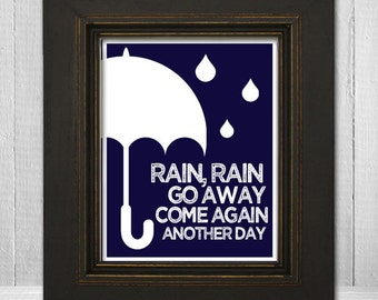 Custom Color Nursery Art 8x10- Kids Room Print - Kids Umbrella Print - Rain Rain Go Away - Choose Background Color