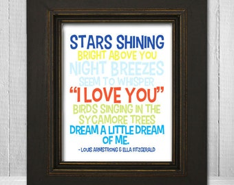 Dream a Little Dream of Me Print 11x14 - Song Lyric Nursery Print - Louis Armstrong Music Art Print - Choose Background Color