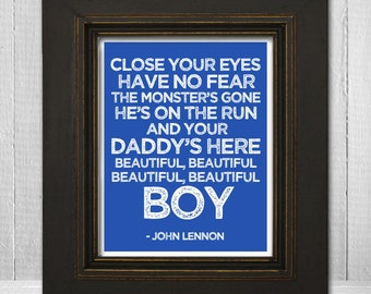 John Lennon Song Lyrics Print 8x10 - Beautiful Boy Nursery Print - John Lennon Music Art Print - Choose Background Color