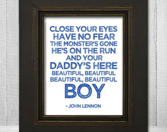 John Lennon Nursery Print 8x10 - Beatles Nursery Print - Beautiful Boy Lyrics Print - White Background Choose Text Color