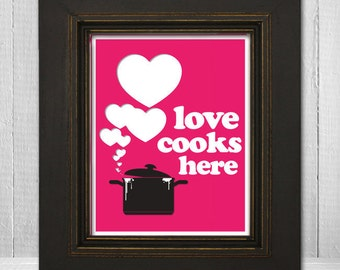 Inspirational Kitchen Art Print 11x14 - Love Cooks Here - Choose Your Background Color