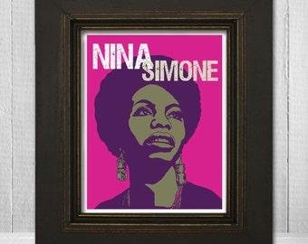 Nina Simone Print 8x10 - Music Print - Music Legend Print - Music Poster - Vintage Music Art Print