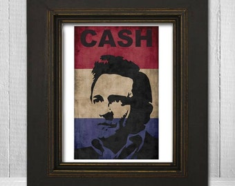 Johnny Cash Print 11x14 - Music Print - Country Legend Print - Music Poster - Vintage Music Poster