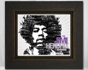 Jimi Hendrix 11x14 - Music Print - Rock Legend Print - Music Poster - Vintage Music Poster