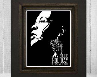 Billie Holiday Print 11x14 - Music Print - Music Legend Print - Music Poster - Vintage Music Art Print - Billie Holiday