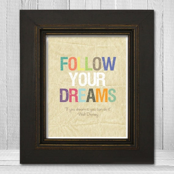 "11x14 Inspirational Nursery Print, ""Follow Your Dreams"" Print, Colorful Nursery Print"
