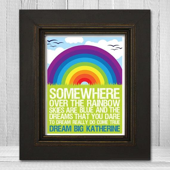 Personalized Rainbow Wall Print 11x14 - Somewhere Over the Rainbow - Custom Name