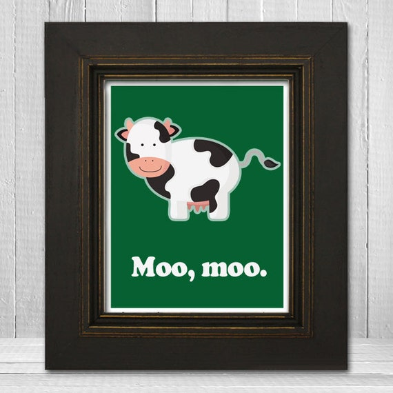 Cute Cow Kids Print 11x14 - Cow Theme Nursery Print - Custom Children's Art - Moo Moo - Choose Your Background Color