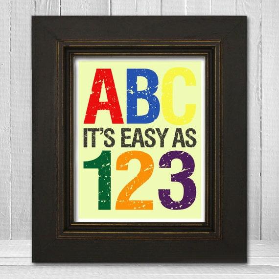 ABC Nursery Art 8x10- Kids Alphabet Print - ABC123 Print - ABC Its Easy as 123 - Choose Background Color