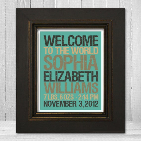 Personalized Baby Name Print 11x14 - Welcome Baby Nursery Print - Custom Baby Shower Print - Custom Background Color & Text