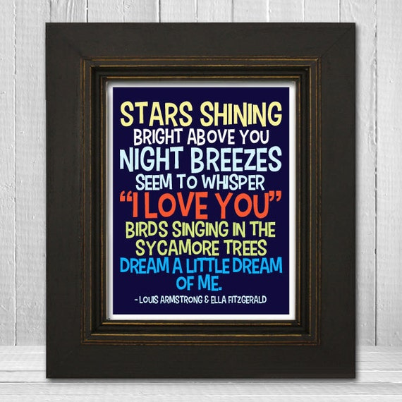 Dream a Little Dream of Me Print 8x10 - Song Lyric Nursery Print - Louis Armstrong Music Art Print - Choose Background Color