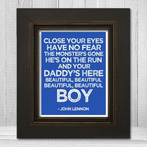 John Lennon Song Lyrics Print 11x14 Beautiful Boy Nursery