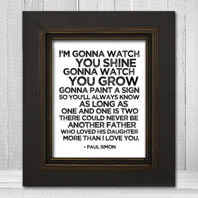 Song Lyrics Nursery Print 11x14 Father & Daughter Nursery