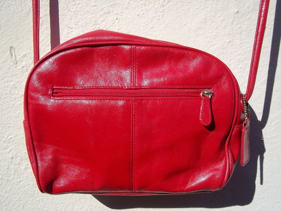 SALE Vintage Red Leather Crossbody Purse