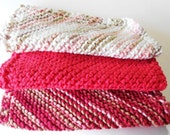 Knitted Cotton Dishcloths - Red Mixup
