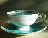 Vintage Teacup Candle Jade with Gold Detail