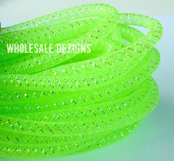 "Tubular Crin Lime Green - 3/8"" - 15 Yards of Crinoline Cyberlox Stretch Tubing - Neon Green"