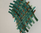 Glass wavy weave wall hanging - greens with orange or violet highlight