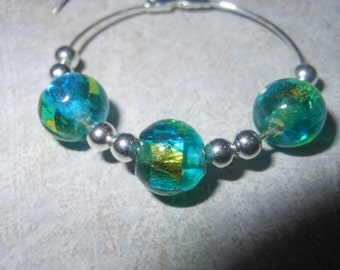 Blue Glass Bead Hoops
