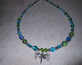 Shades of Blue and Green with Dragonfly