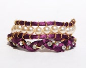 Two Plum Satin Bracelets with Rhinestones and Peal Beads