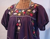 """Mexican Peasant Blouse Top Hand Embroidered: """"La Bellezza"""" Plum"""
