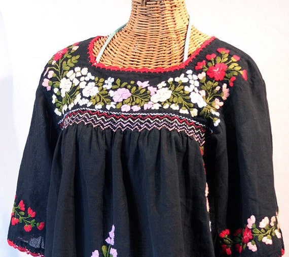 """Mexican Peasant Blouse Top Hand Embroidered: """"La Marina"""" Black"""