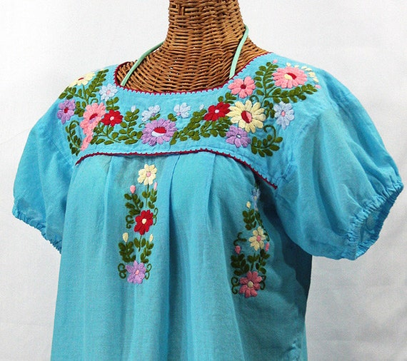 mexican peasant top blouse hand embroidered by sirenology