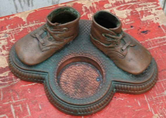 Bronzed Children Shoe Ashtray