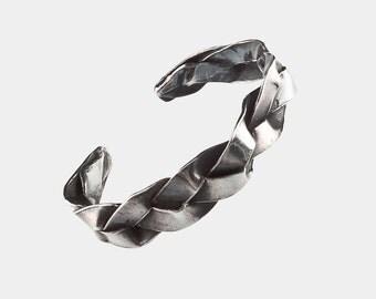 Handmade sterling silver braid cuff bracelet