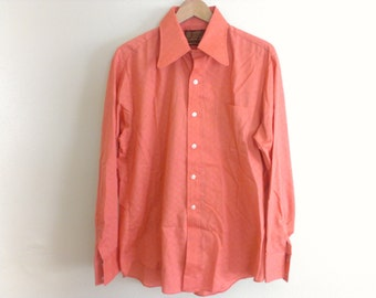 """70s vintage men seventies salmon color shirt """"ok"""" in fabric weave large"""