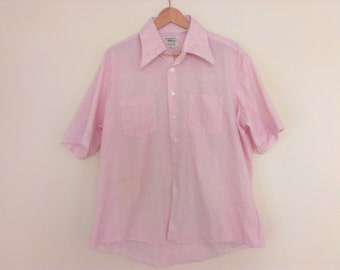 70s vintage men seventies pink striped shirt extra large