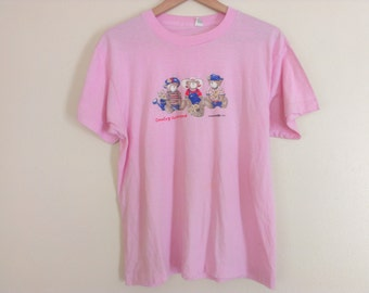 80s vintage eighties teddy bear tshirt large, spots on front, entitled country weekend