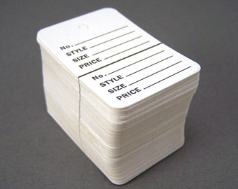 Merchandise Tage - 500 - Small White Price Tags - Perforated Inventory Tag