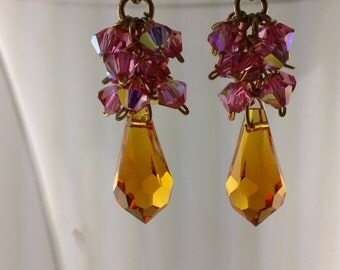 Pink fuschia and Amber Swarovski Crystal with Gold Bling Earrings