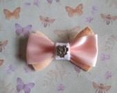 Hair Bow, Handmade, Felt, Pink Ribbon, Peach, White, Gold, Barrette, Slide, Cute, Kitsch, Geeky