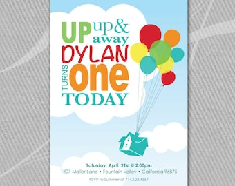 UP DISNEY INSPIRED - Up, Up, and Away - Primary Colors - Invitation - Printable