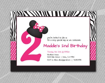 MINNIE MOUSE - Disney - Invitation - Printable // Mickey Mouse also available