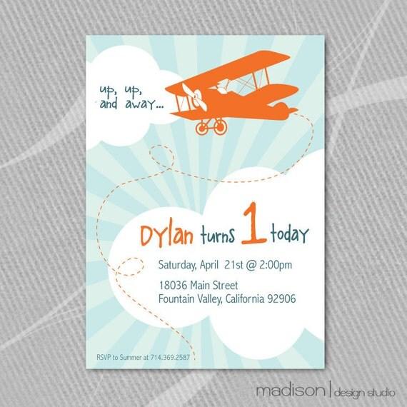 Airplane Birthday Invitation Diy Printable By Vindee On Etsy: VINTAGE AIRPLANE Up Up And Away Birthday Invitation