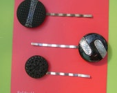 Vintage Black Button Bobby Pins Set of 3