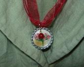 Bouquet that lasts: Bottle Cap Necklace (with Carnelian bead)
