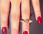 Silver Top Knuckle Spike Ring